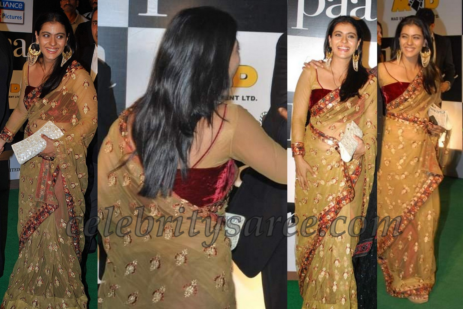Kajol in netted sari with full sleeves blouse saree blouse patterns