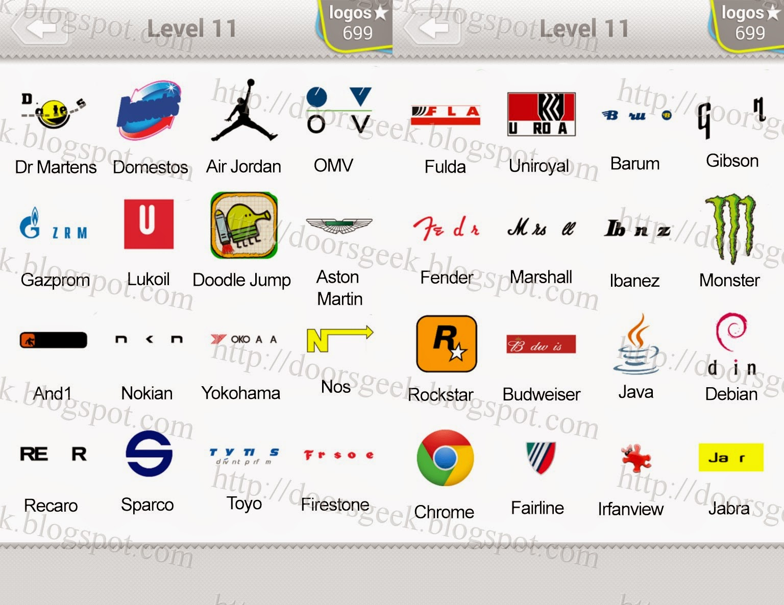 Logo Quiz Level 11 pack contains 80 logos. The answers to all of them ...
