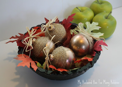 diy fall acorns with ornaments and string