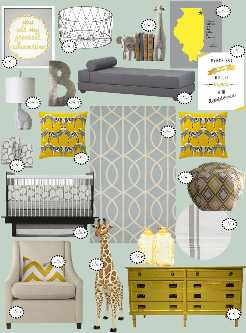 nursery inspiration, yellow & grey nursery, boy nursery, modern nursery