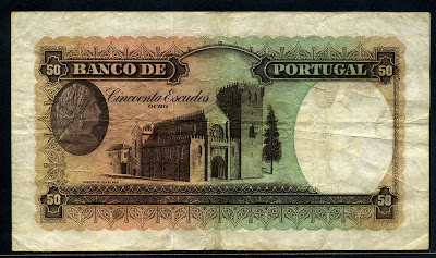 Portuguese bank notes 50 Escudos note Portugal paper money