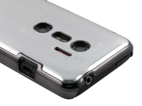 Brushed Aluminum Chrome Hard Back Case for HTC EVO 3D (Silver) + Screen Film