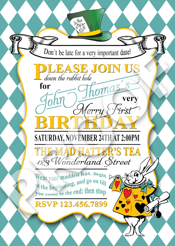 Paper perfection mad hatter tea invitation this would also make a great bridal shower invitation if you would like this invitation or matching party printables contact paper perfection at filmwisefo
