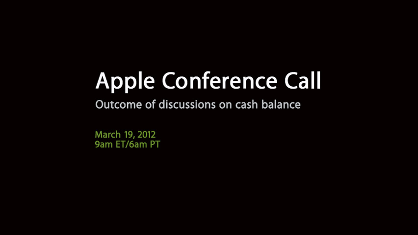 apple conference call 2012 live to discuss $100 cash reserves