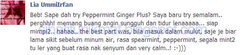 Testimoni Peppermint-Ginger Plus Shaklee