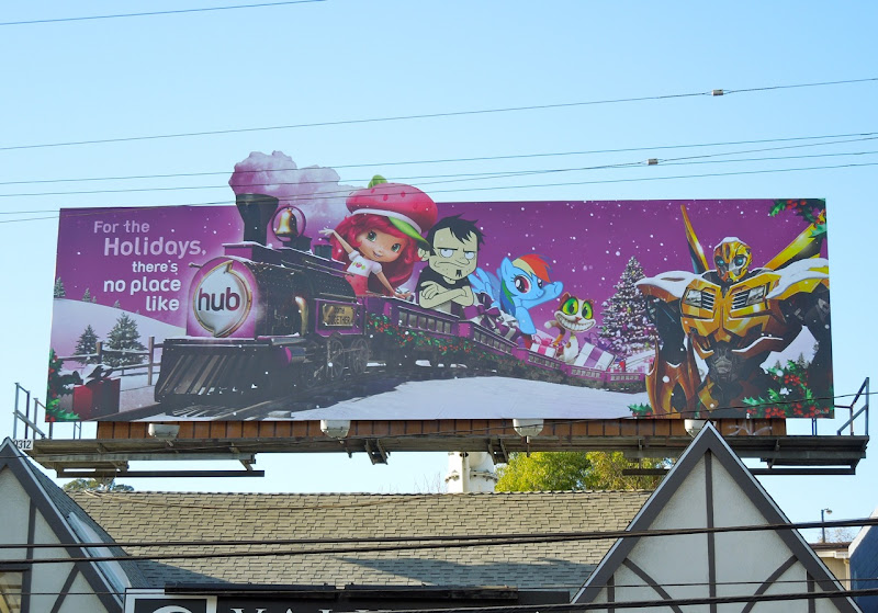The Hub Christmas train billboard