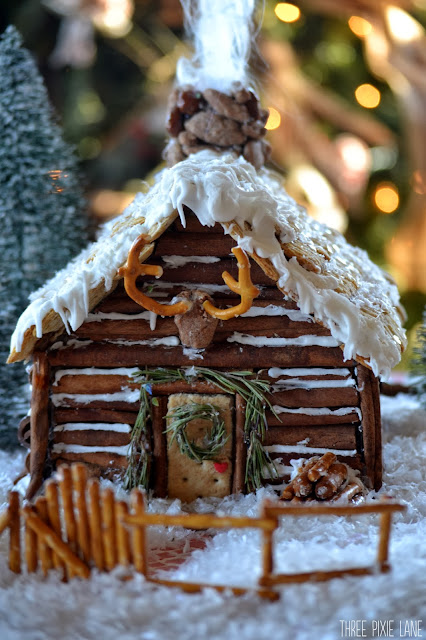 Three Pixie Lane Gingerbread Log Cabin