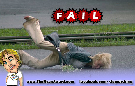 Epic Fail !  Face to concrete Funny picture