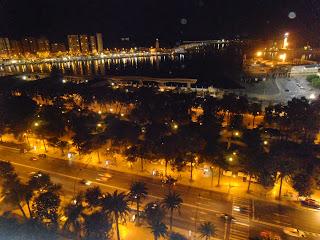 Malaga at Night, El Palmeral, port & Muelle Uno