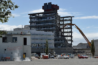 Large building being dismantled in Christchurch New Zealand