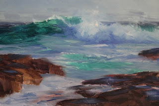 step 1, seascape oil painting by andy dolphin