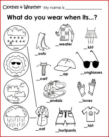 Weather and clothes worksheets for kindergarten pdf