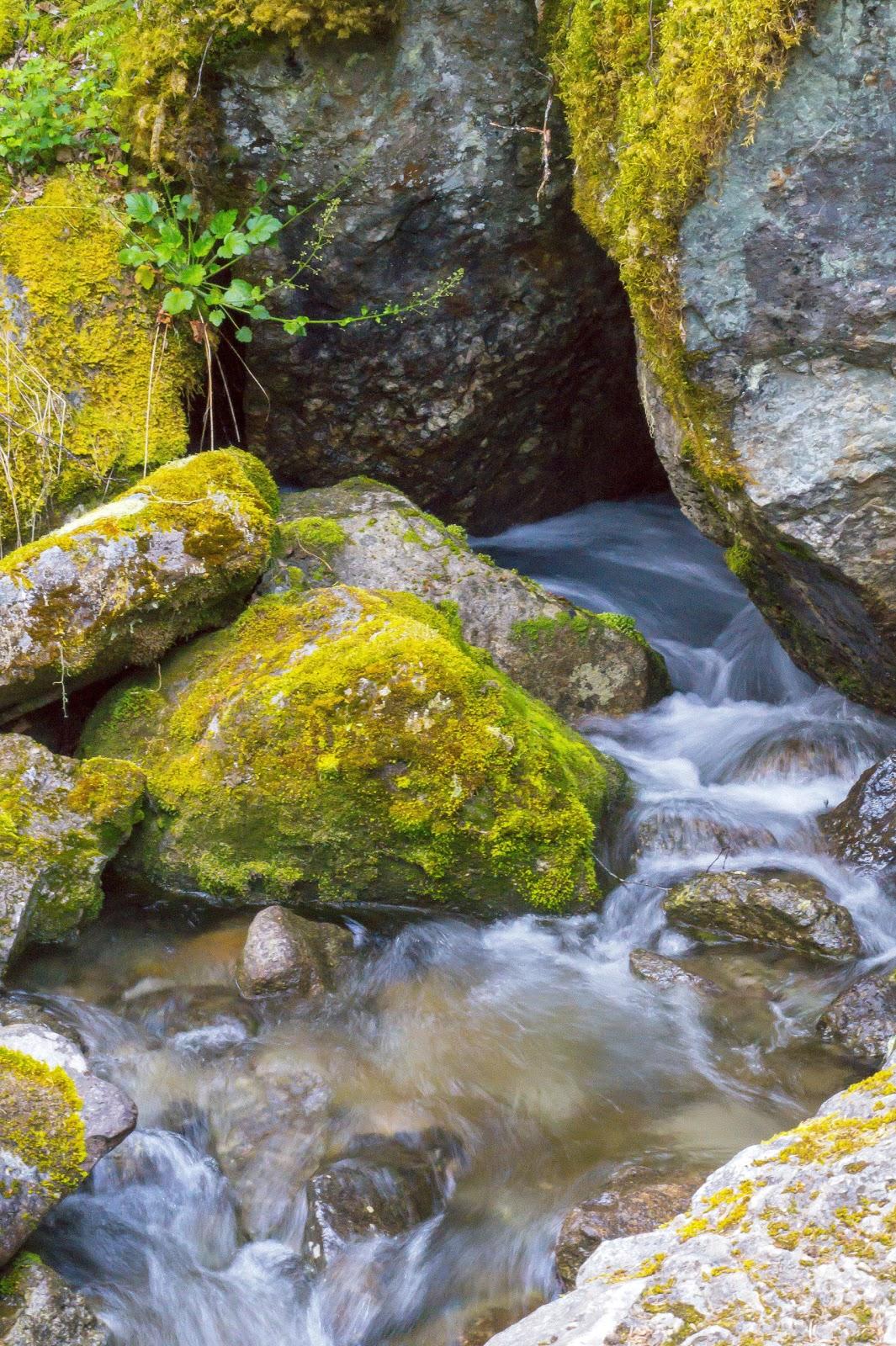 Журчит себе между камней, проделывая себе путь вниз.
