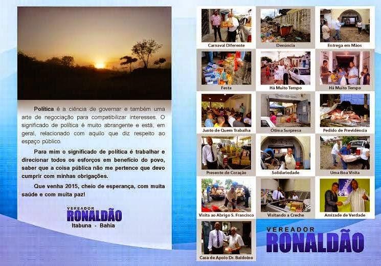 Mensagem do vereador Ronaldão