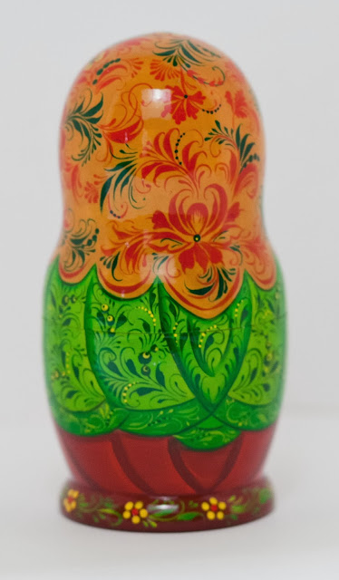 """Set of 5 puppets a tall matryoshka (nesting dolls) largest 6.7"""" (17 cm) Traditionally Russian souvenir. A fun gift."""