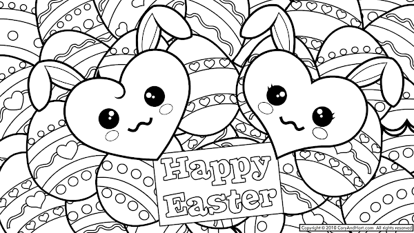 Cute Easter Eggs Coloring Pages