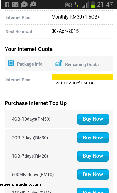 Digi Top up after exceed quota