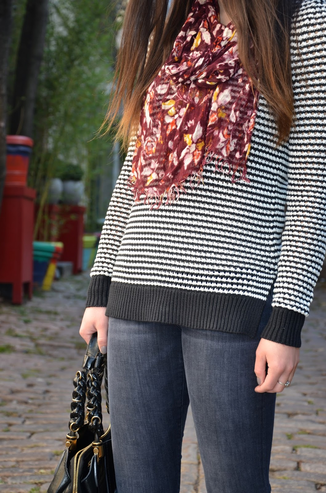 moments of chic with piperlime | striped sweater + faded black denim