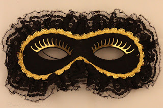 Black Lace Masquerade Ball Eye Mask from Theatrical Threads