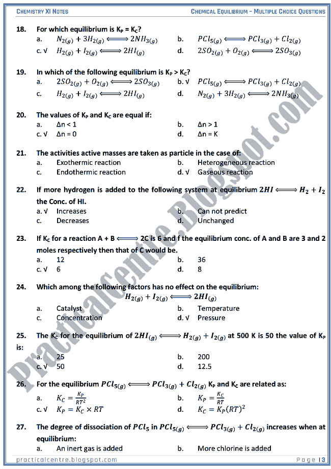 Chemical Equilibrium - MCQs - Chemistry XI