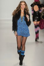 min dress, blue, black boots, new york fashion week, black, faux fur, short coat