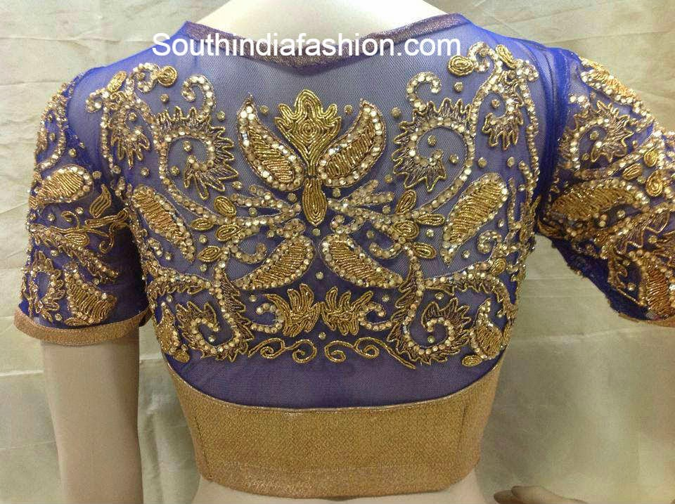 high neck net blouse designs