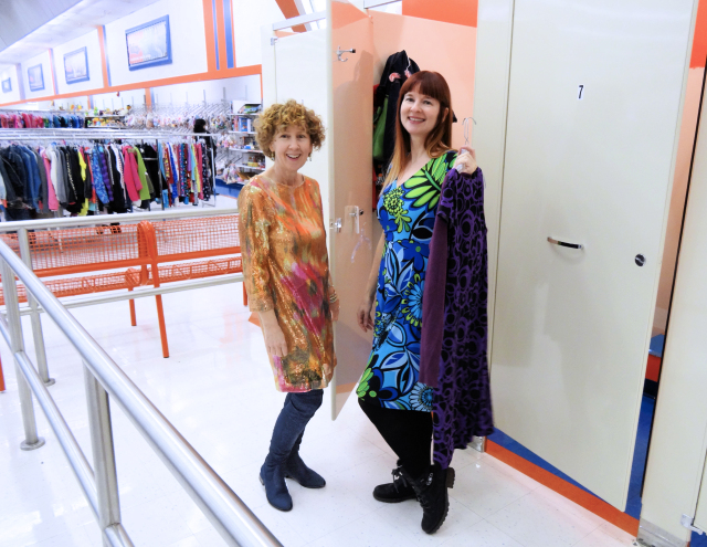Sue of A Colourful Canvas and Suzanne Carillo in reject dresses, Talize
