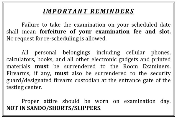 Filing of Application for Civil Service Eligibility Exam reminder
