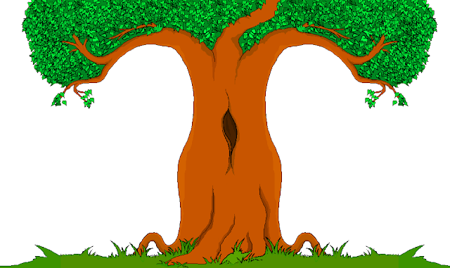 Large colourful cartoon oak tree