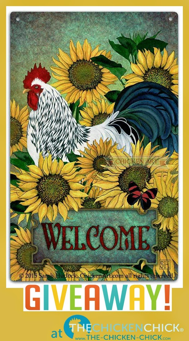 Chicken Art Tin Sign Giveaway at The Chicken Chick®