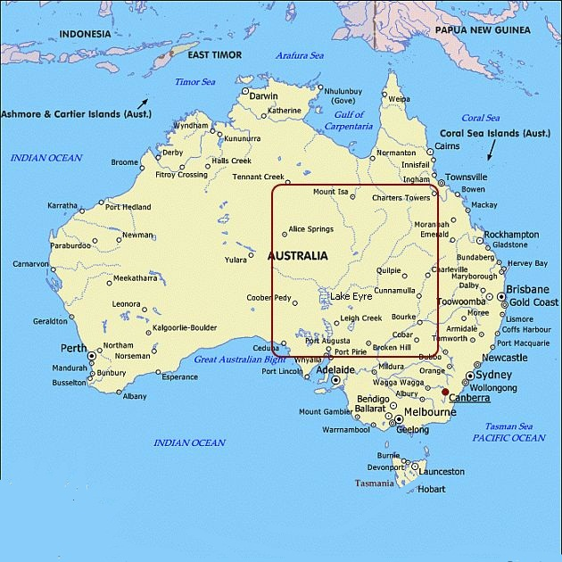 Australia Map Geography Pictures Map of Australia Region Political