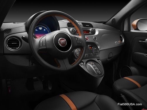 Fiat 500e with e-Sport Package interior