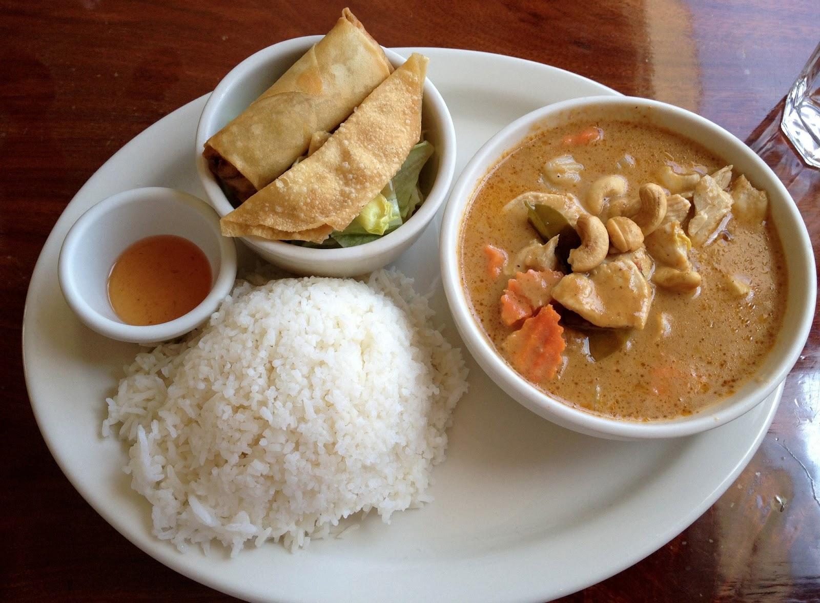food blogger, food blog, thai village, thai food, massamum curry, curry, american fork, egg roll, rice