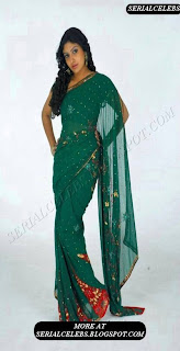 Mounika in green low hip saree