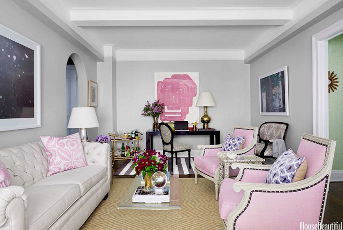 Home tour a stylish and feminine new york apartment for Living room sets for apartments