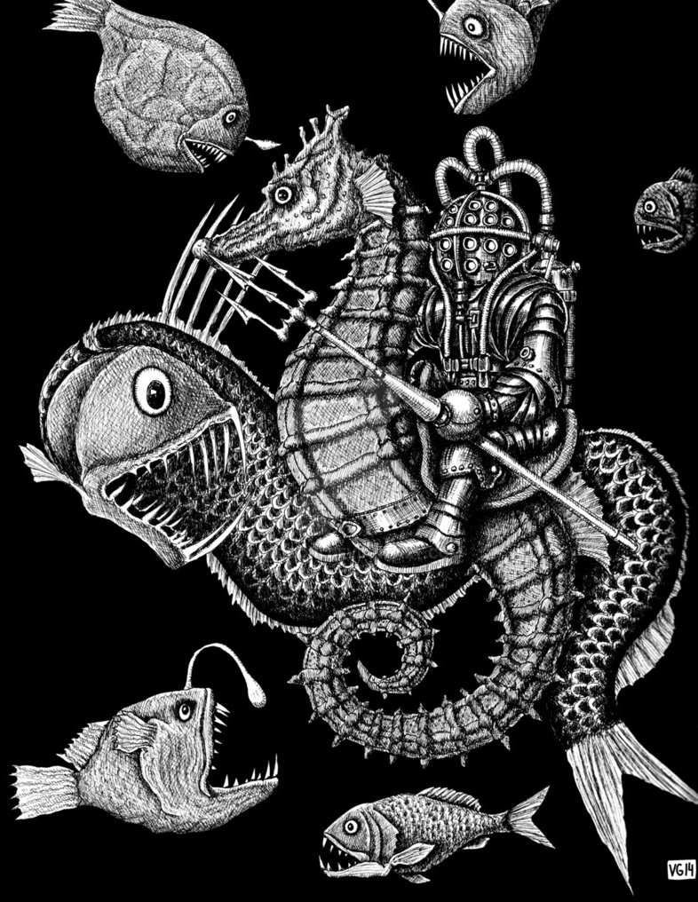 13-Poseidon-Vitaliy-Gonikman-Surreal-Black-and-White-Drawings-with-a-Message-www-designstack-co