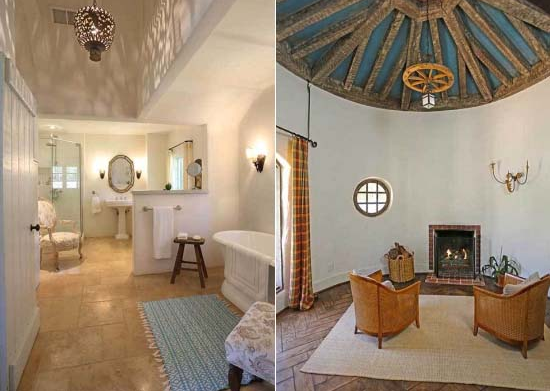 bathroom and fireplace at Reese Witherspoon's Ranch in Ojai, California