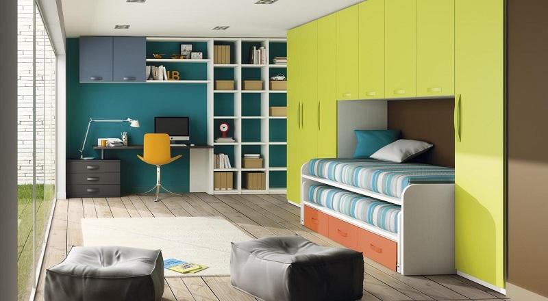 Habitacion juvenil con cama compacto arriba abierta for Camas puente infantiles