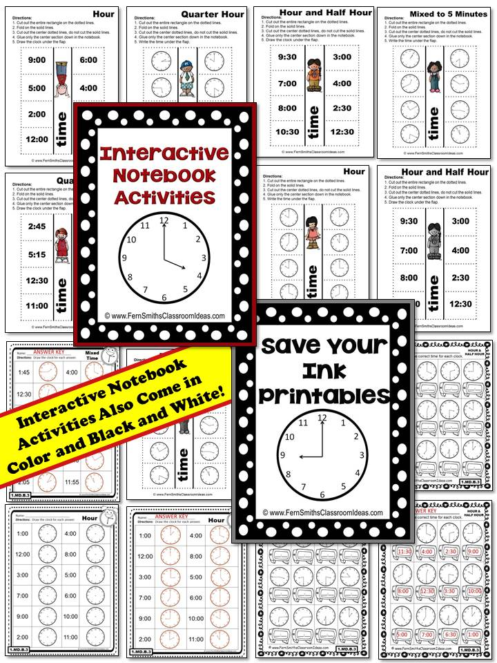 Fern Smith's Time Mega Pack - Printables, Center Games, Task Cards and Interactive Notebook Activities For 1.MD.B.3 at Fern Smith's TeachersPayTeachers Store.