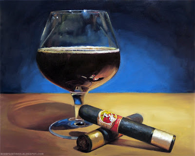 Imperial Stout and La Gloria Cubana Serie R painting