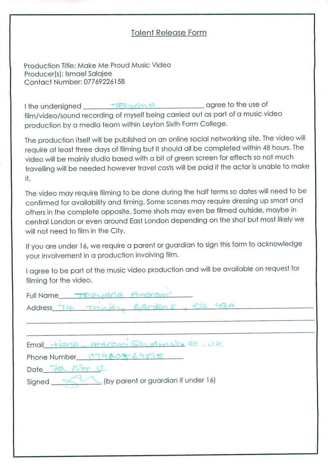 Parths Blog Nickis Talent release form update – Talent Release Form