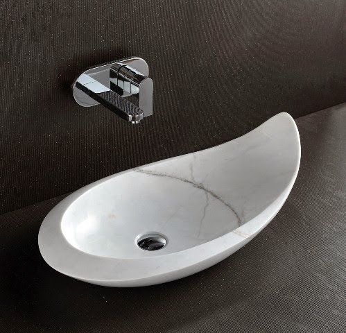 Natural stone basins wash sinks komo designer polished white marble countertop basin - Designer bathroom sinks basins ...