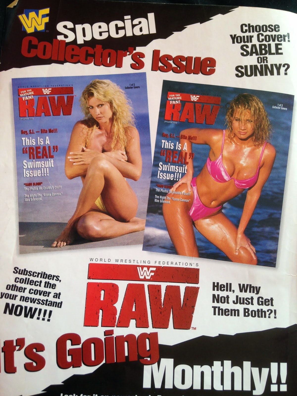 WWF MAGAZINE - JANUARY 1998 - SUNNY AND SABLE AD