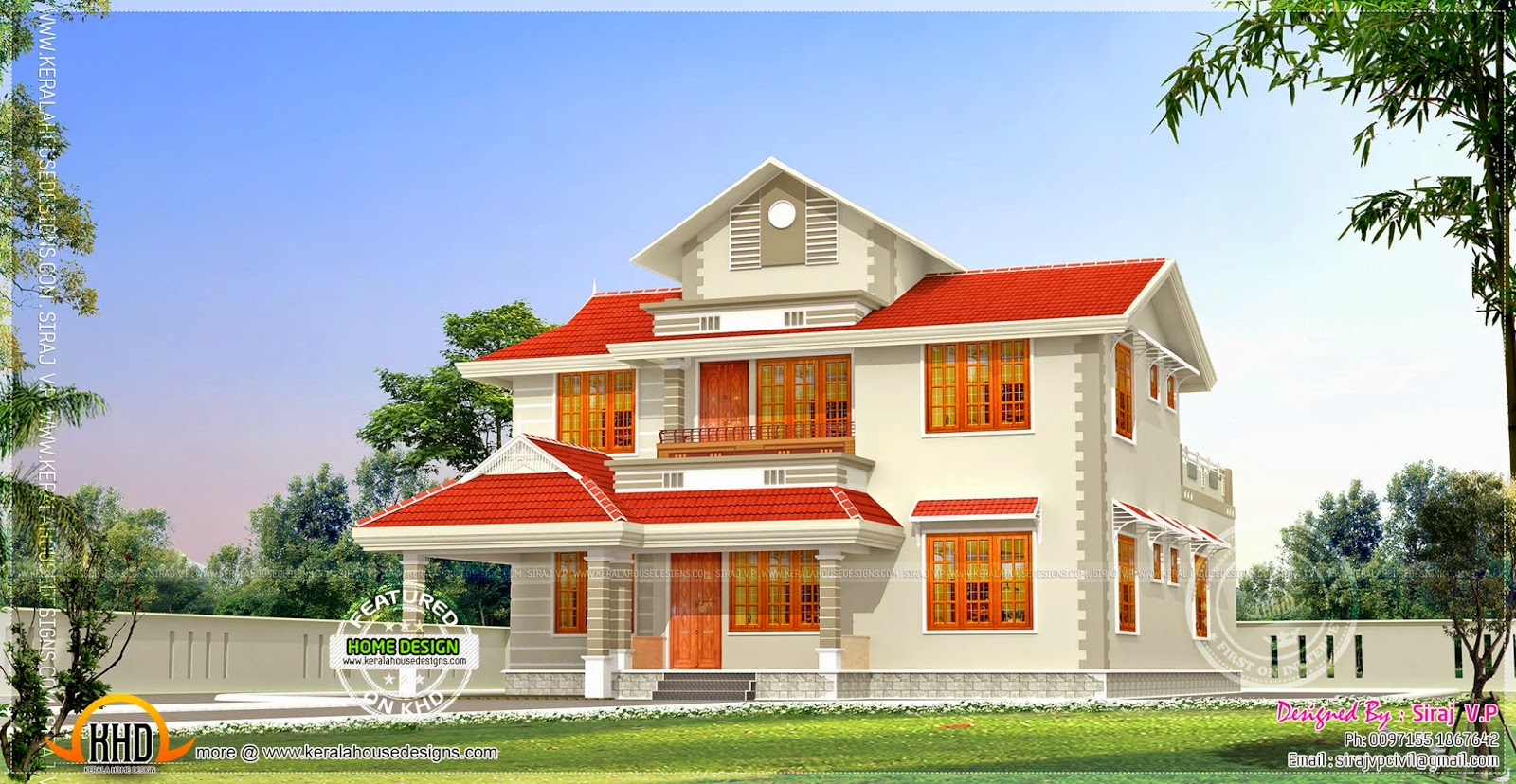 2020 Square Feet Kerala Model Residence Exterior Home Plans Paint Designs Houses