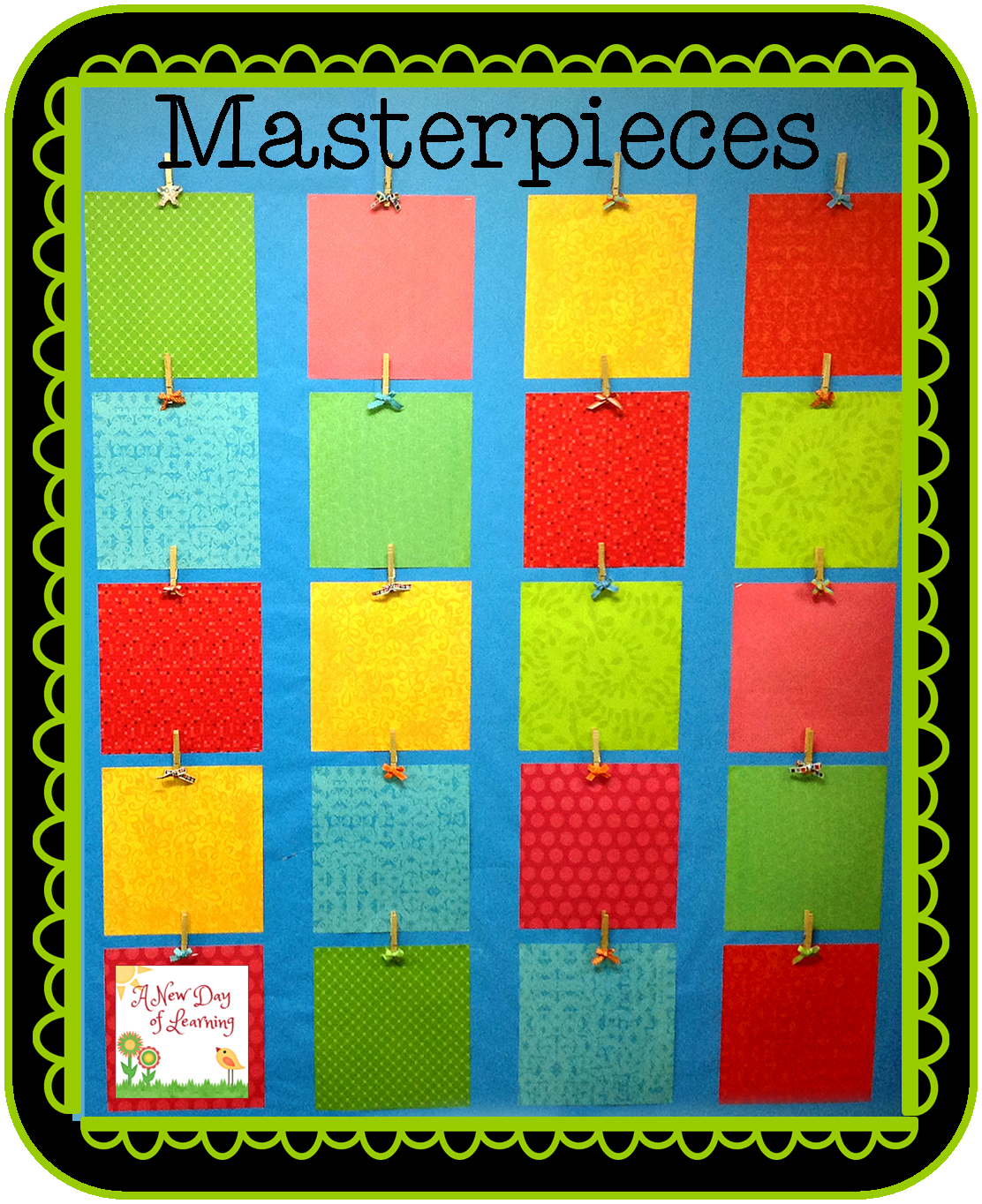 Scrapbook paper display -  Scrapbook Paper Clothespins And Ribbon To Make A Very Cute And Practical Bulletin Board To Display Student Work When I Saw It I Knew I Could Make My