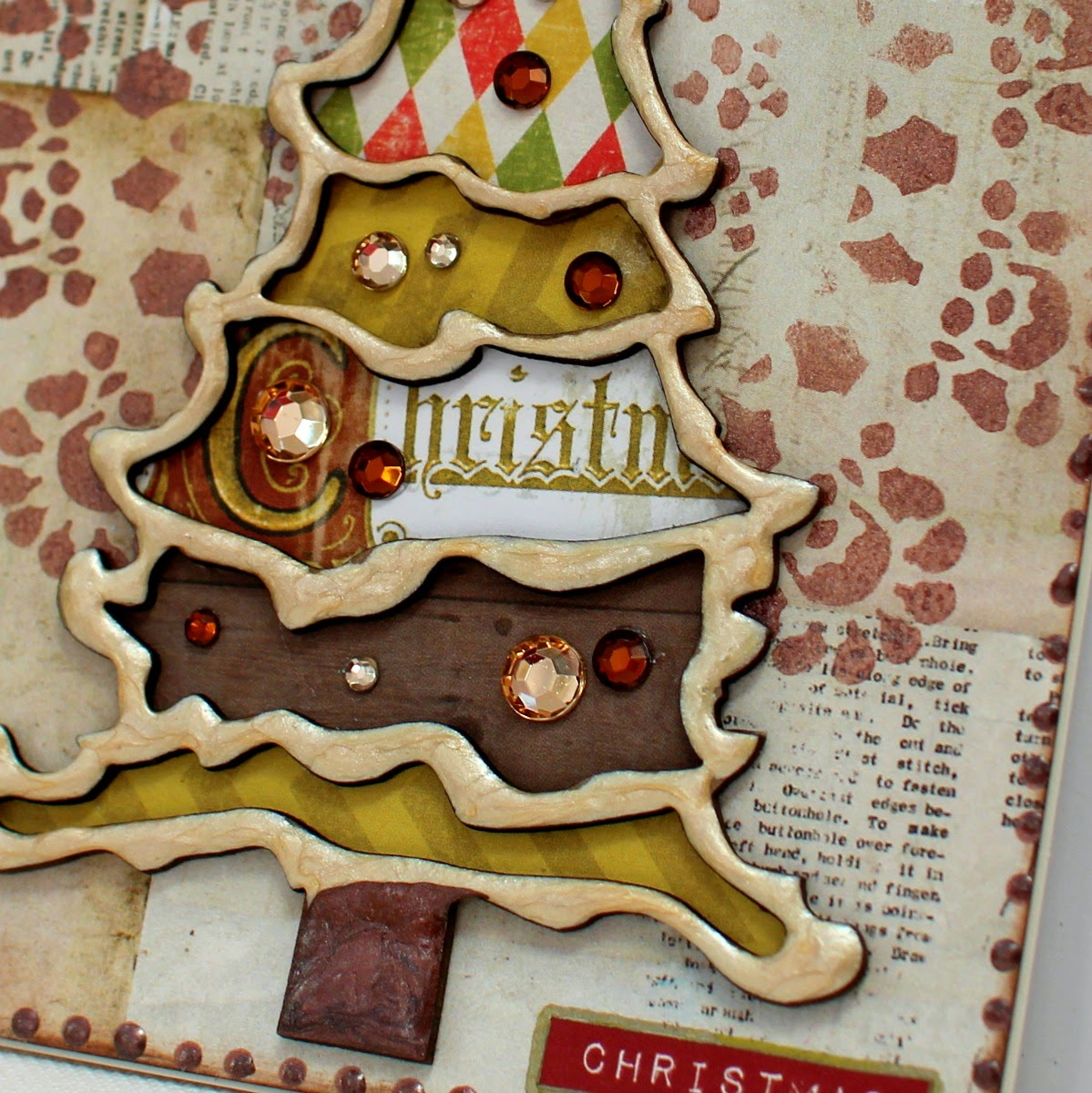 Merry Christmas card by Ilene Tell using Bo Bunny Christmas Collage with Pearlescents and Stencils
