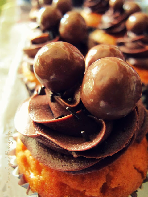 a chocolate cupcake with Maltesers on top