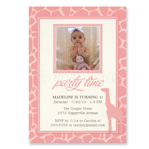Cute Giraffe Kid Birthday Party Invitation by The Spotted Olive