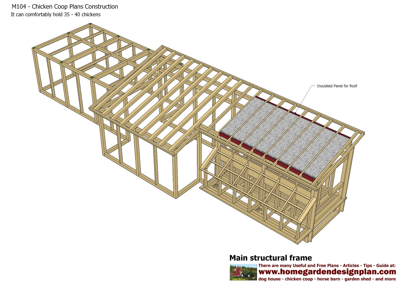 Home garden plans m104 chicken coop plans construction for Free chicken plans