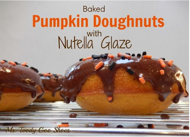 Baked Pumpkin Donuts with Nutella Glaze